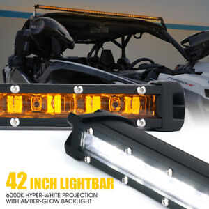 Xprite 42 Inch Single Row Led Light Bar Amber Backlight For Ford Suv Truck Utv