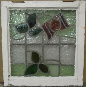 Old English Leaded Stained Glass Window Gorgeous Floral Design 21 X 22