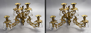 Pair Of Old Victorian 4 Candle Bronze Sconces Putti Lion Mask