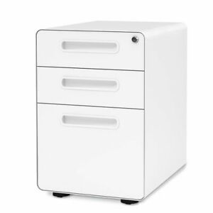 Orford 3 drawer Metal Mobile File Cabinet With Lock Legal letter Size white