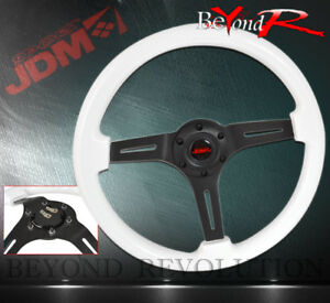 For Honda 350mm White Wood Grain Racing Steering Wheel Aluminum Center Deep Dish