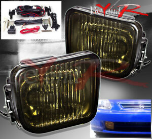 96 98 Honda Civic Coupe Sedan Smoke Len Front Rear Fog Light Lamp Kit