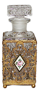 Antique French Ormolu Dore Gold Crystal Perfume Scent Bottle Guilloche