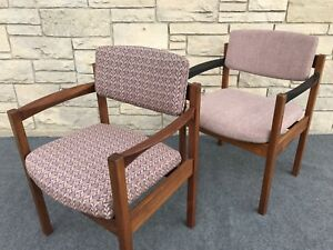 Pair Of Mid Century Danish Modern Jens Risom Walnut Office Arm Chairs