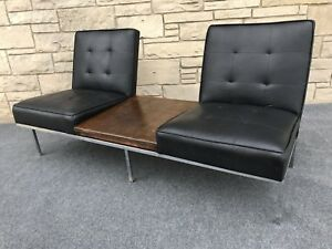 Mid Century Modern Paoli Chair Co Black Chrome Double Seat Sofa Bench W Table