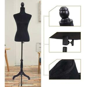 Female Mannequin Torso Body Dress Clothing Form Display Black Tripod Stand