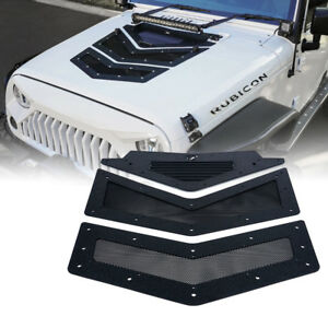 Xprite Black Viper Hood Vents Louver For 07 18 Jeep Wrangler Jk Jku