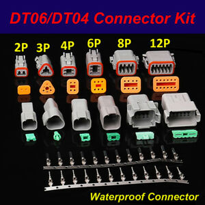 Dt06 dt04 Kit 2pin 3p 4p 6p 8p 12pin Waterproof Electrical Connector Socket Plug