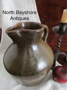 Antique 1800s New England Redware Pottery Hand Thrown Tavern Pitcher Ewer Aafa