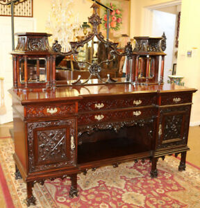 Gorgeous Carved Mahogany Monumental Chinese Chippendale Sideboard Buffet Server