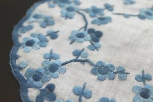 2 Vtg Antique Hand Embroidered Satin Stitch Doily Rounds Blue White Rice Linen