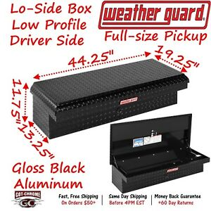 180 5 01 Weather Guard Black Aluminum Lo Side Low Profile Toolbox Driver Side