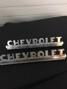 1947 1953 Chevy Truck Hood Side Emblems Original Patina Good Condition