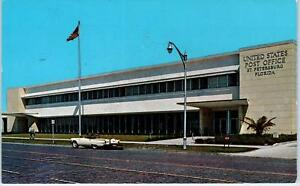 St Petersburg Fl Florida Central Plaza Post Office 1960 T bird Car Postcard