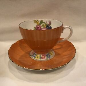Vintage Foley China Tea Cup And Saucer English Bone China V2404 Orange W Flowers