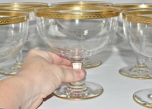 8 Big Antique Blown Glass Gold Greek Key Rimmed Dessert Goblets Stems
