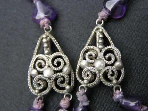 Antique Chinese Silver Necklace Filigree Purple Stone Beads Half Double Strand