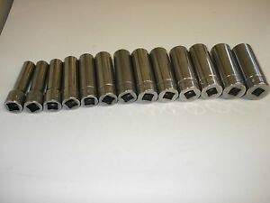 Snap On Deep Metric Chrome Socket Set 6 Point 12 24mm 1 2 Drive 313tsmya
