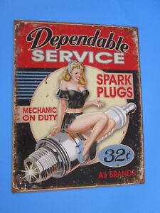 Tin Metal Gasoline Service Station Man Cave Advertising Decor Gas Oil Spark Plug