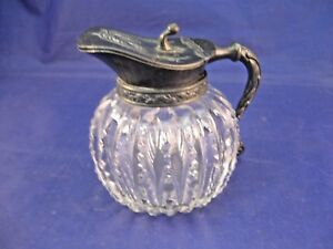 Small Antique Glass Pitcher W Silverplate Hinged Lid And Handle Zipper Pattern