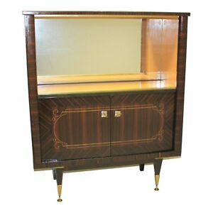 Monumental French Art Deco Macassar Ebony Dry Bar Cabinet 1940 S
