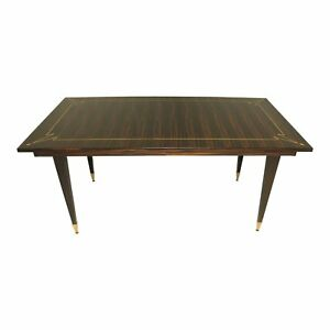 Beautiful French Art Deco Exotic Macassar Ebony Writing Desk Dining Table