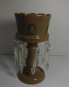 Antique Victorian Tan Bristol Glass Mantle Luster Lamp With Crystal Spears