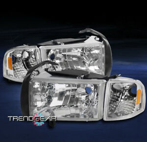 For 1994 2001 Dodge Ram 1500 2500 3500 Chrome Headlight Headlamp W Corner Signal