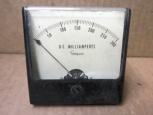 Simpson Panel Meter Dc Milliamp 0 300 48122