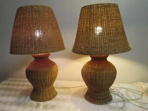 Pair Vintage Wicker Ginger Jar Lamps Matching Wicker Shades Cottage