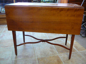 Antique Flame Cherry Pembroke Drop Leaf Table Stand Nightstand Stretcher Base