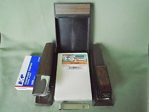 Vtg Lot 6 Office Desk Bates Swingline Stapler Memo Pad Holder Box Staple Clamp
