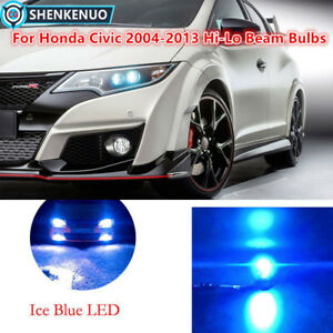 4pc 9005 9006 Ice Blue Led Headlight Bulbs For Honda Civic 2004 13 High low Beam