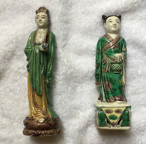 A Set Of 2 Antique Chinese Famille Rose Porcelain Figure Statues