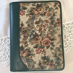 Floral Tapestry Day Runner Day Timer Planner 3 Ring Zip Around Floral Nwot