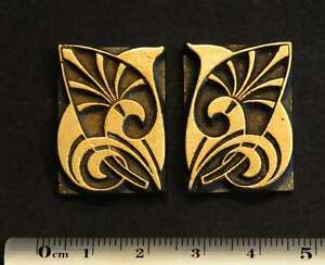2 X Art Nouveau Ornament Bookbinding Brass Type Letterpress Hot Foil Flowers