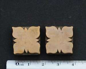2x Art Nouveau Ornament Bookbinding Brass Type Embossing Letterpress Hot Stamp