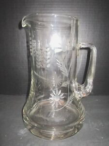Antique Hand Blown Etched Glass Pitcher Applied Handle Thick Bottom 10 Tall