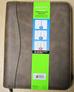 Day timer Traditional Undated Loose leaf Starter Set 5 1 2 X 8 1 2 Brown Cover