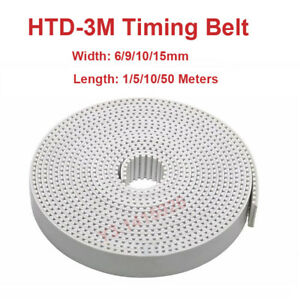 Pu White Htd 3m Open Ended Timing Belt Width 6 9 10 15mm Polyurethane Steel Cnc