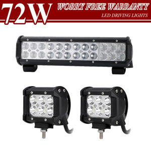 Cree 12 Inch Led Work Light Bar 2x 4 Pods Offroad Suv Ford Tru