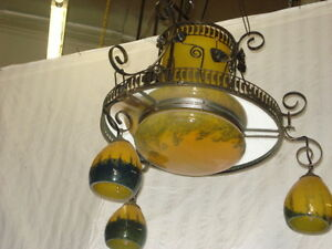 Art Deco Style Wrought Iron Glass Chandelier Yellow Multicolor