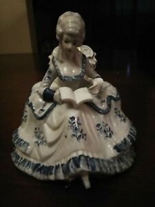 Vintage Porcelain Victorian Lady Figurine Sitting In Chair Reading White