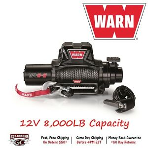 96805 Warn Vr8 Vehicle Mounted Recovery Winch 12v 8000lb Pull With 94 Syntheic