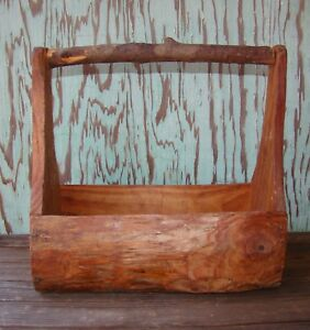 Primitive Appeal Handmade Wood Recipe Carrier Desk Plant Holder Tool Caddy