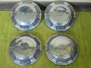 68 69 70 Chevrolet Dog Dish Hubcaps 10 1 2 Set Of 4 Hub Caps 1968 1969 1970