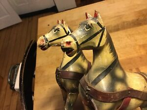 Darling Antique Vintage German Wooden Pull Toy Horse Team Original Paint Nice
