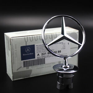 3d Chrome Star Metal Front Hood Logo Emblem Badge For Mercedes Benz C E S Class