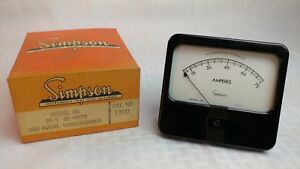 nos Simpson Panel Meter In Orig Box Model 59 Square Bezel 75 5a Ac 75 Amp