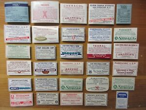 30 Old Narcotic Pharmacy Apothecary Medicine Bottle Labels